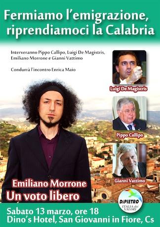 Fermiamo l'emigrazione, manifestazione con Emiliano Morrone, Callipo e Vattimo.